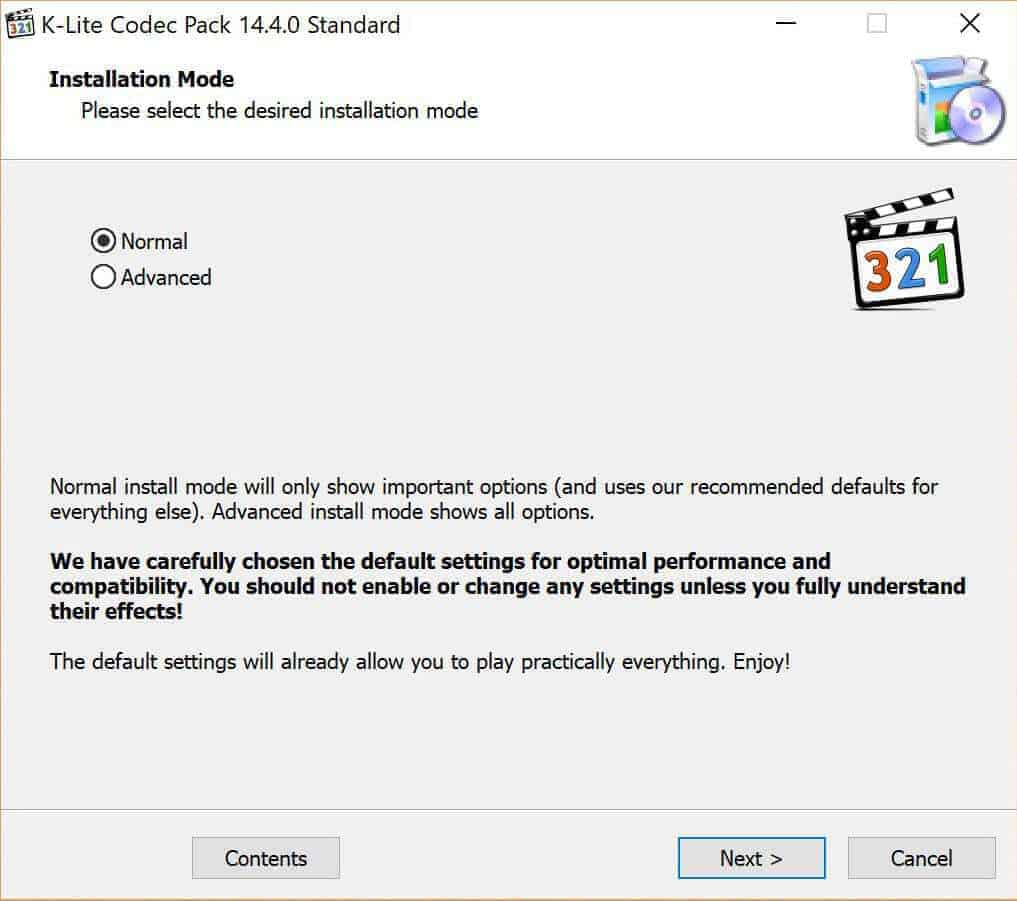 installation mode - how to play any video file