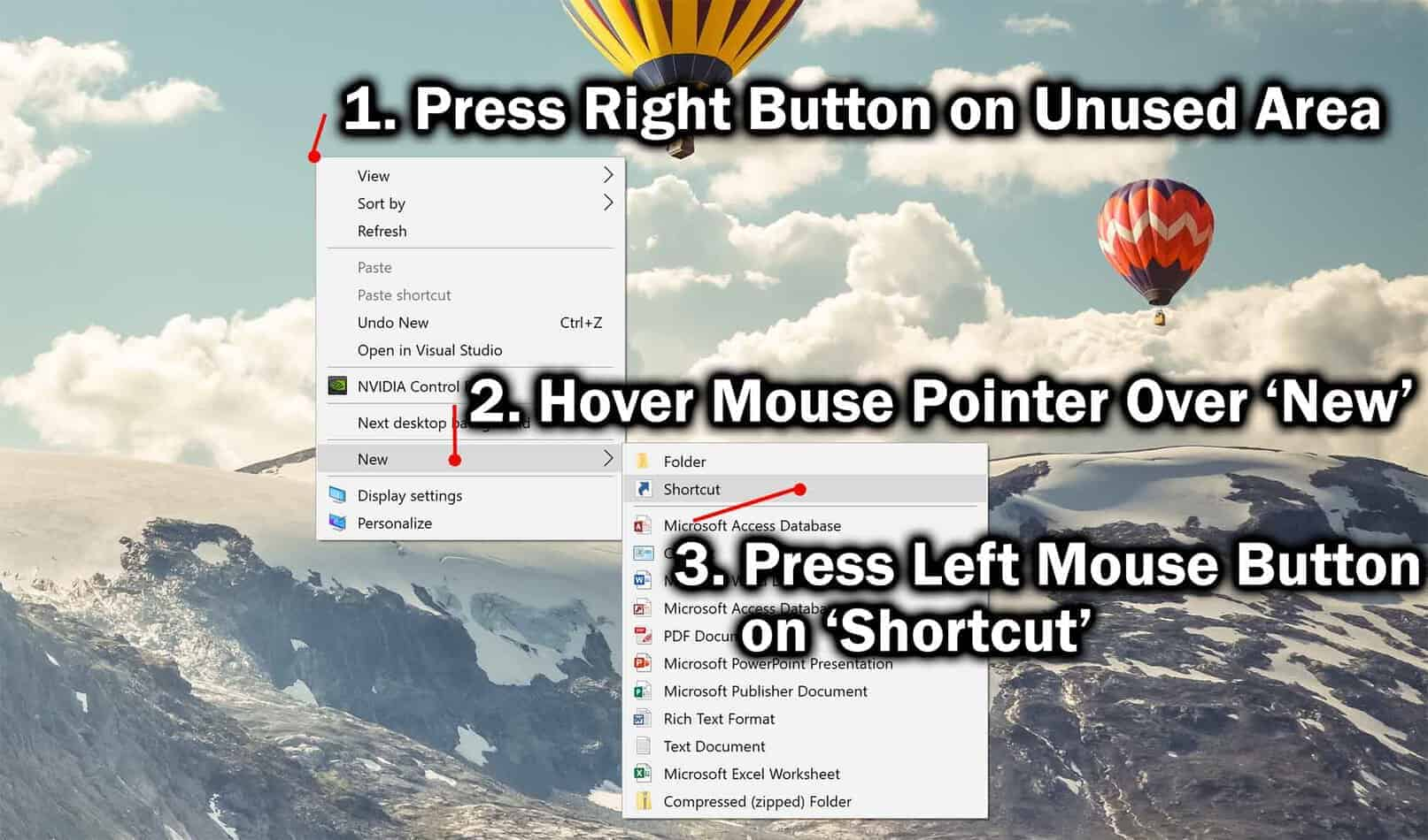 how to create shortcut on desktop in windows 10