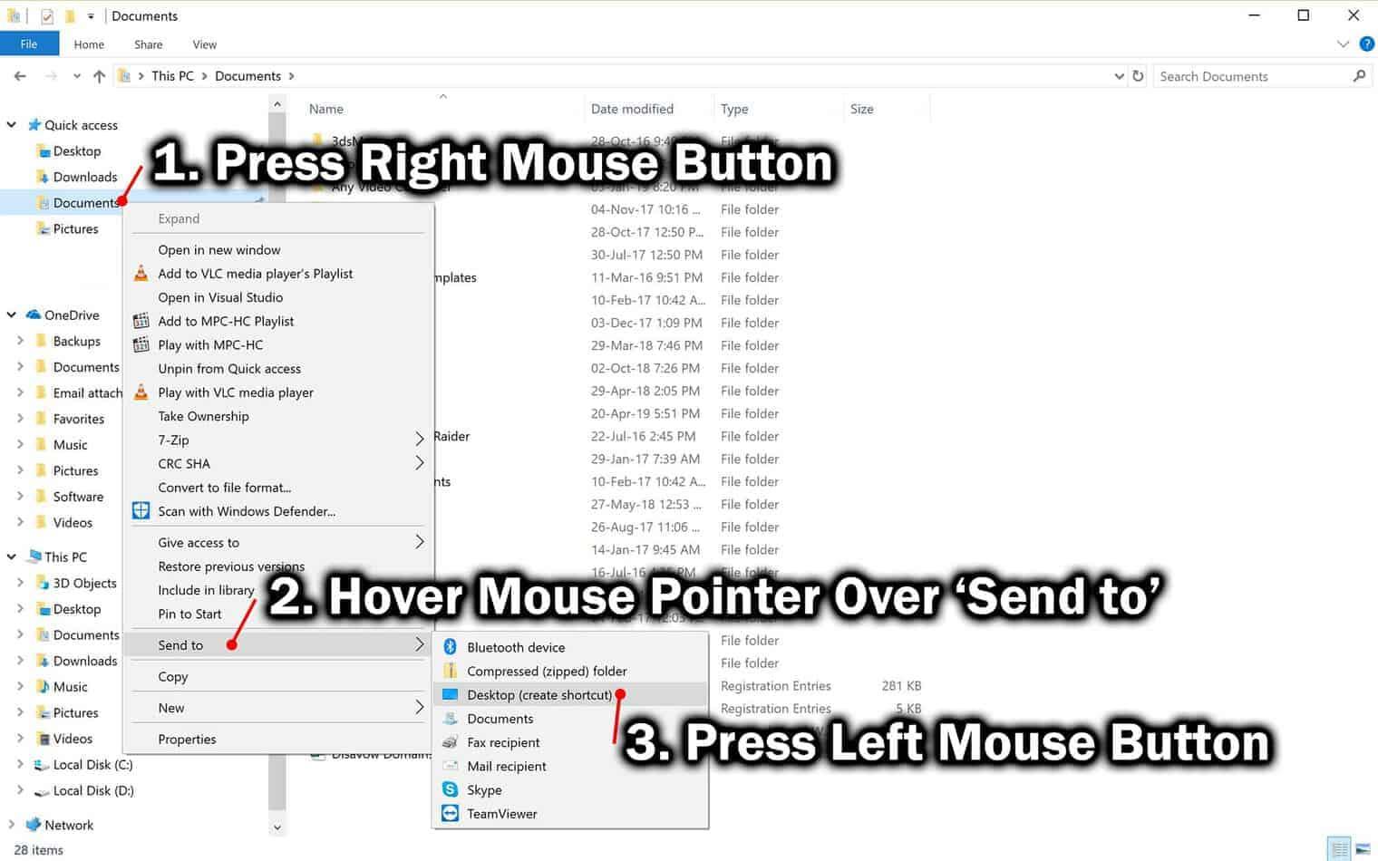 create shortcut in windows file explorer