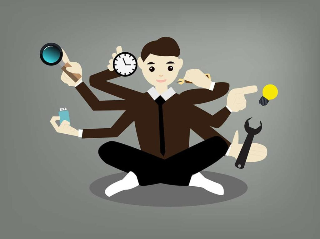 illustration of man with multiple devices