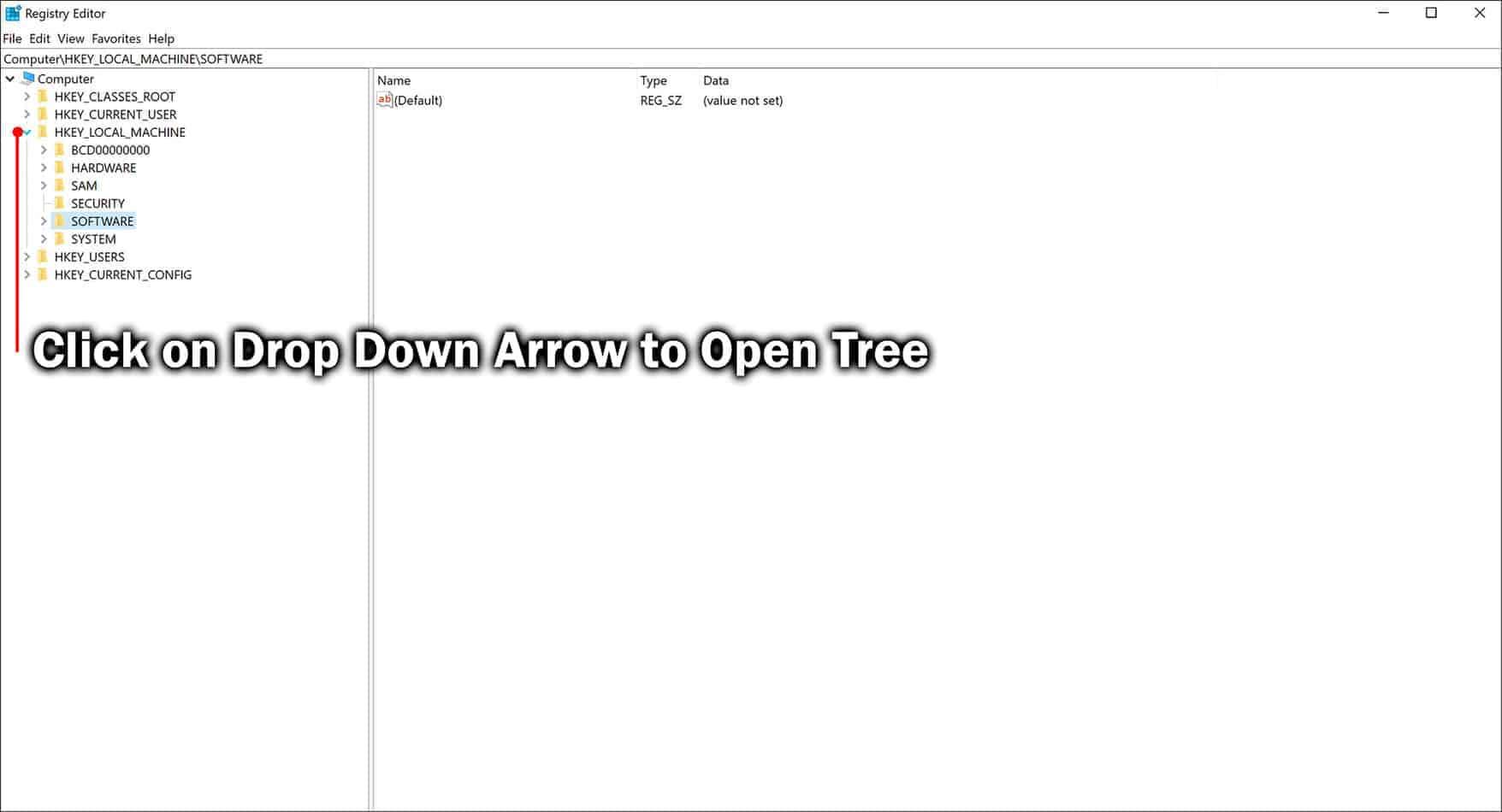 open registry key tree