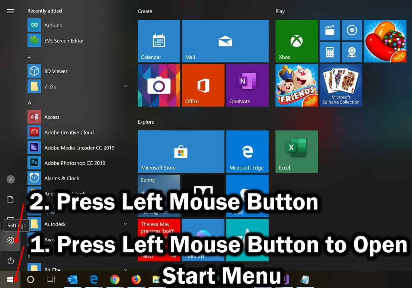 open settings app from start menu