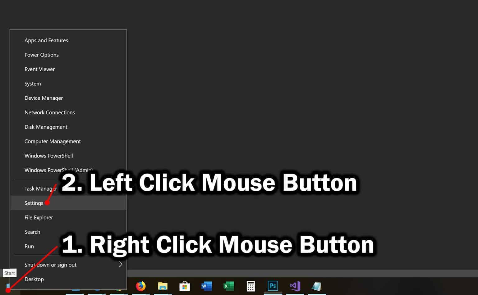 open settings app from start contextual menu