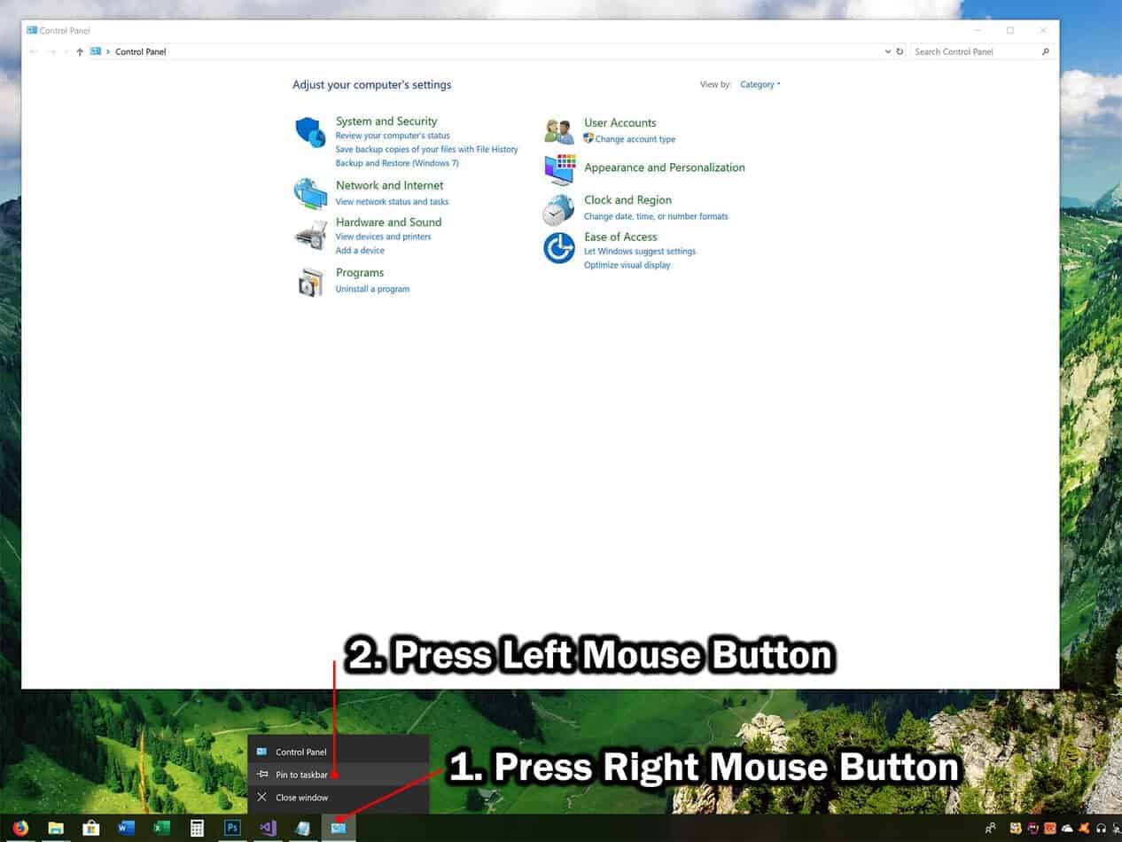 pin control panel shortcut to taskbar