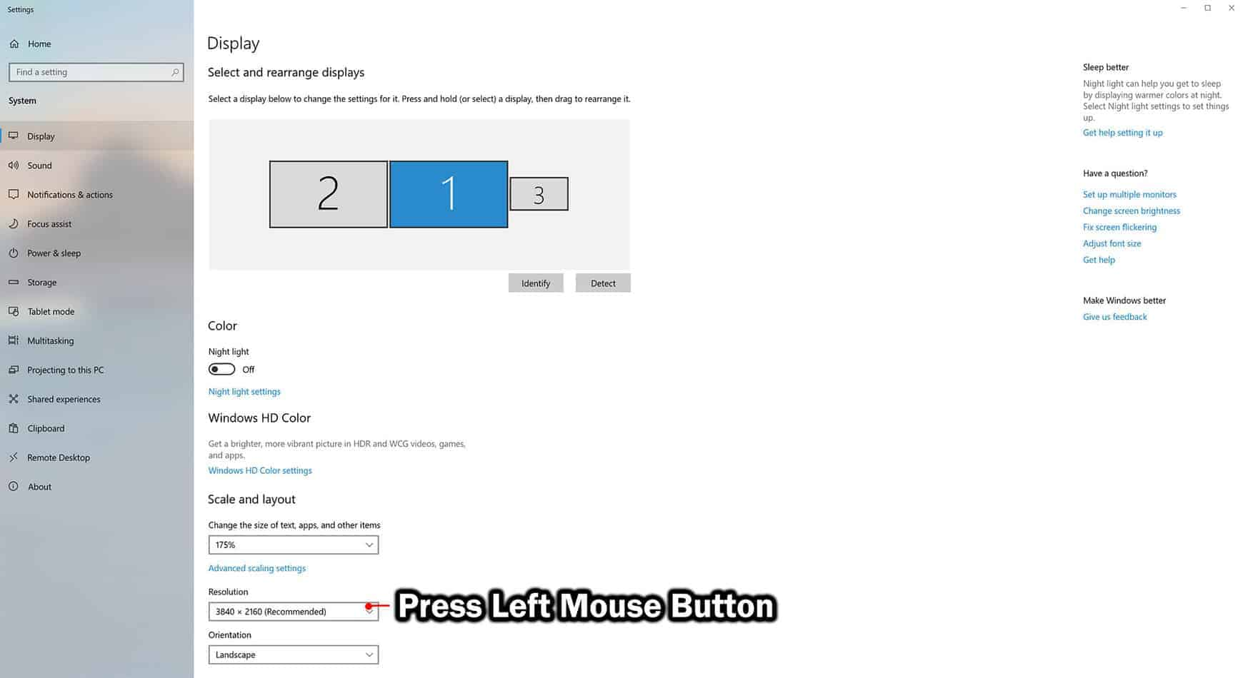 click on drop down arrow under resolution
