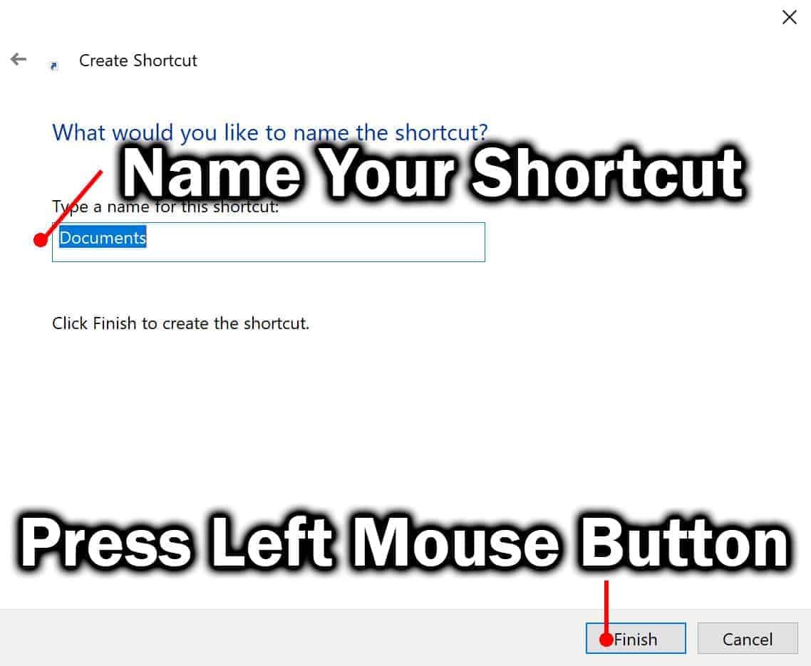 rename shortcut and click on finish