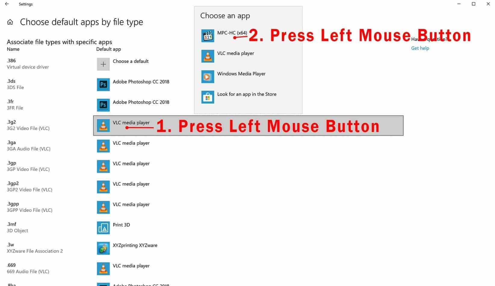 select app for file type - how to change file type