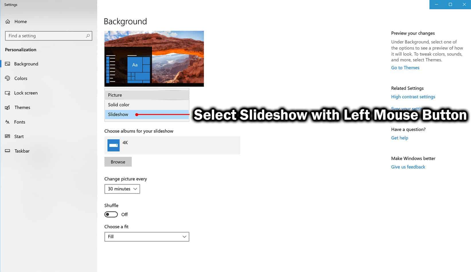 select slideshow option for background