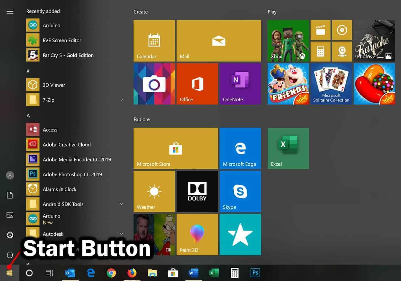 start menu button