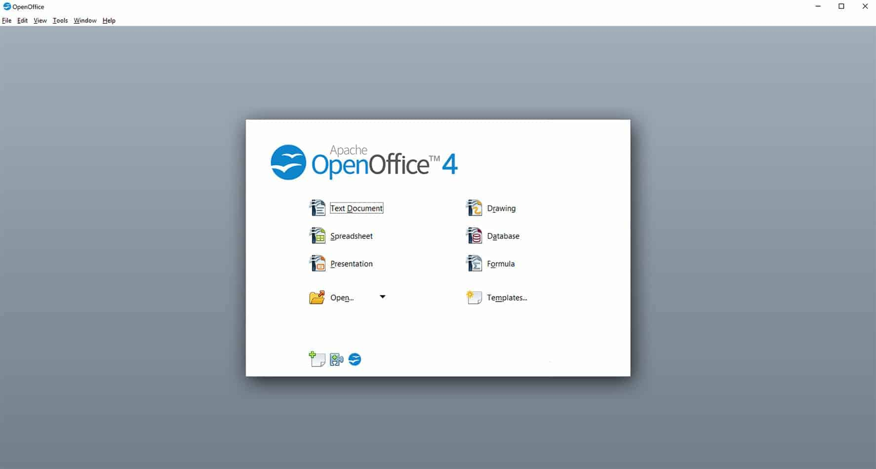 open office main window