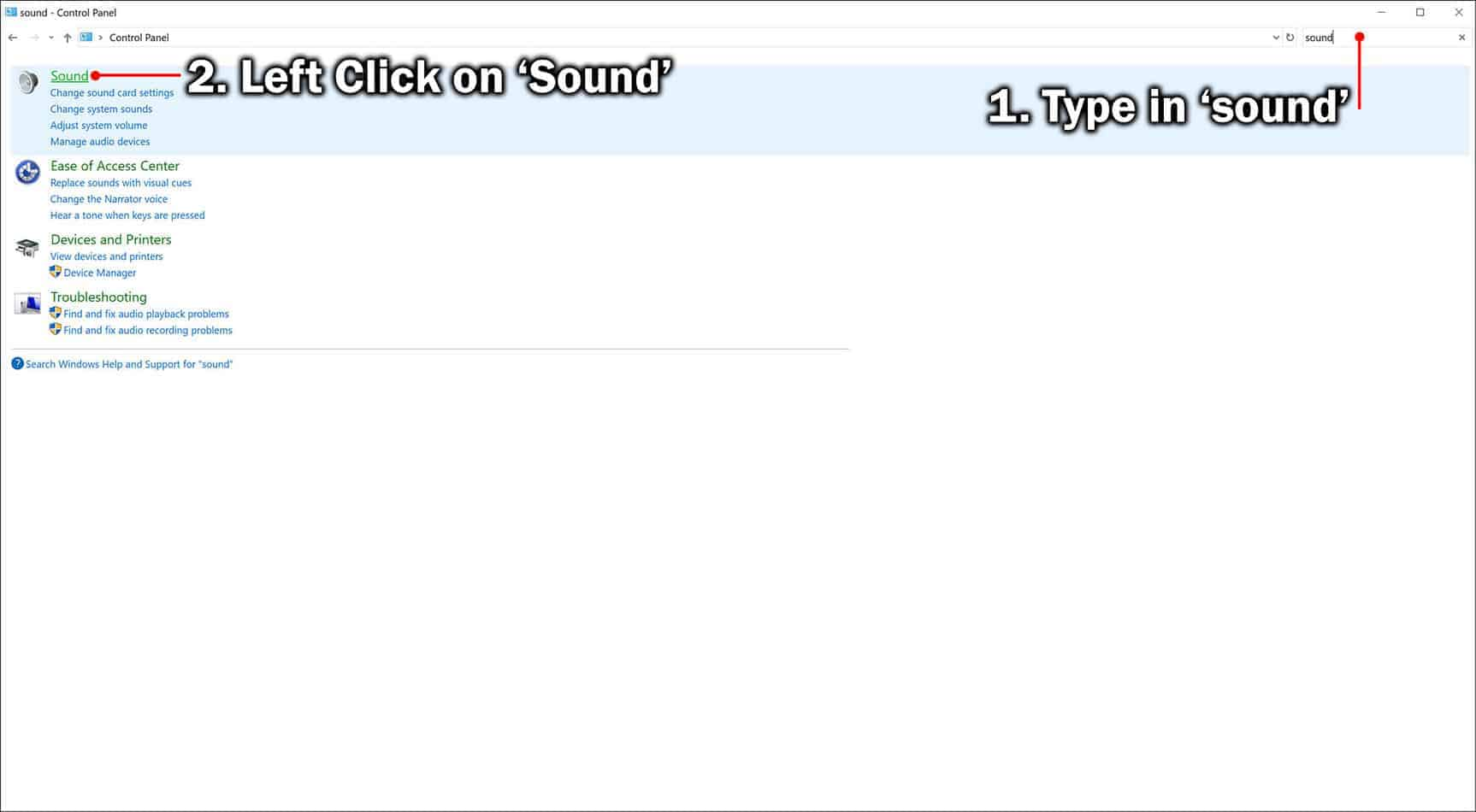 type in sound and click on sound