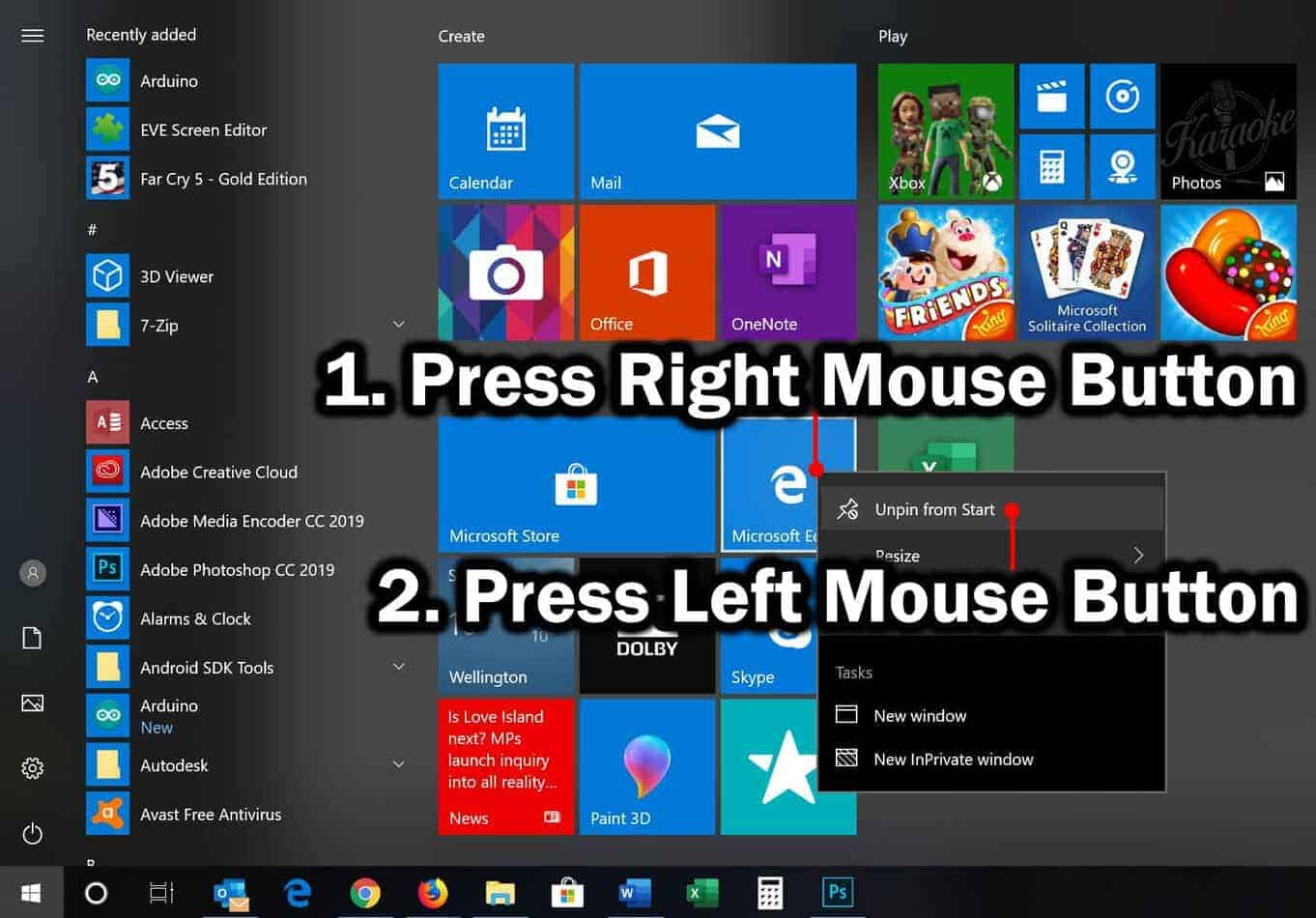 unpin item from start menu