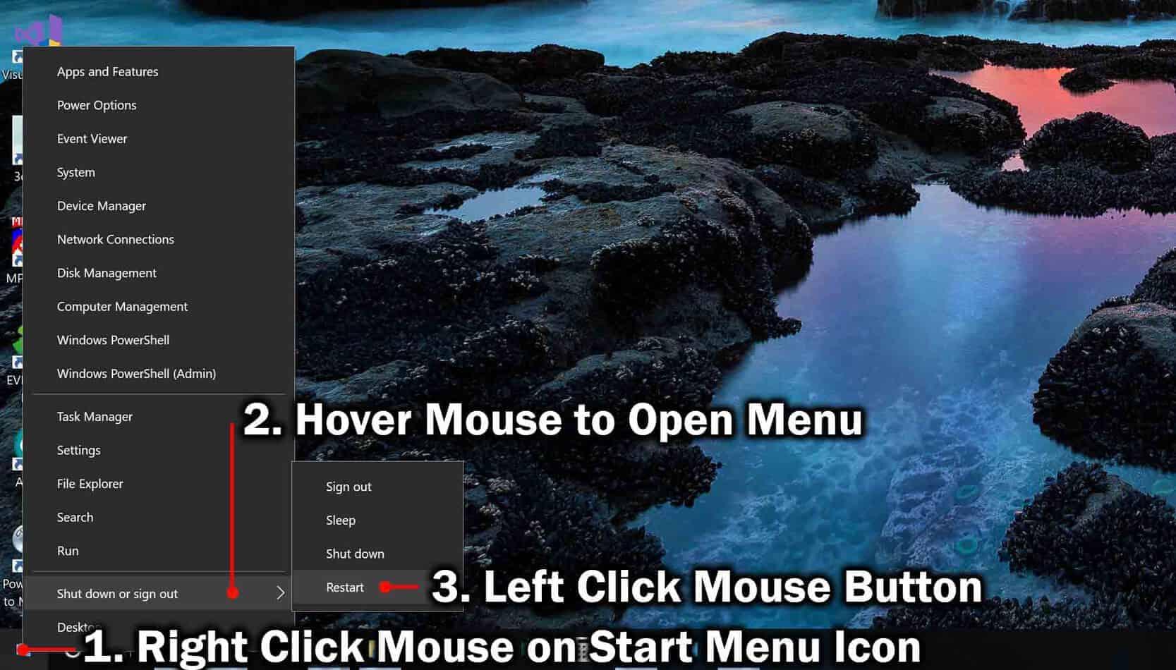 restart windows using the start menus contextual menu
