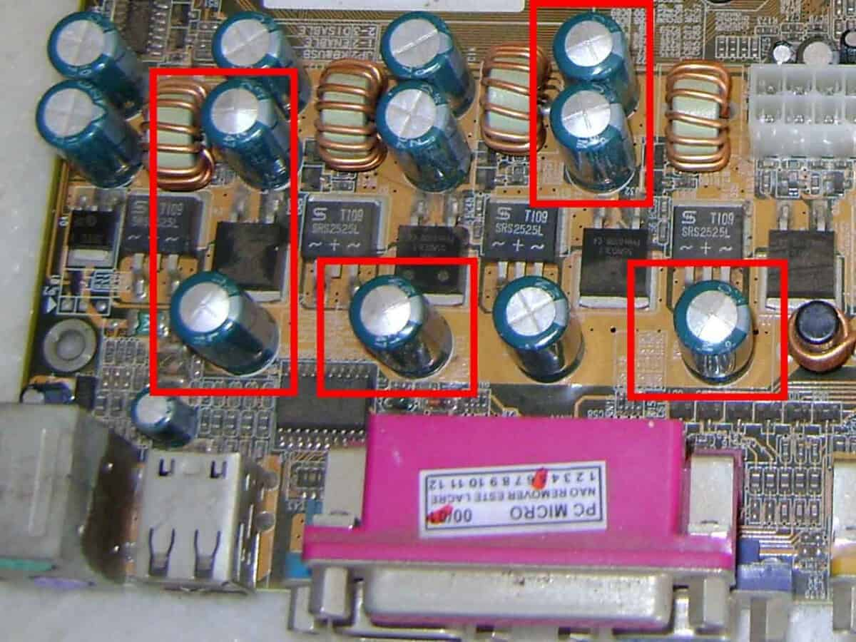 bulged faulty capacitors
