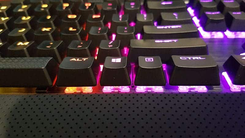 close up of keyboard key lighting