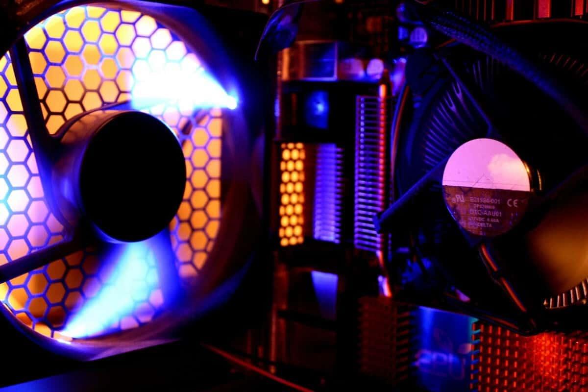 fans running inside computer