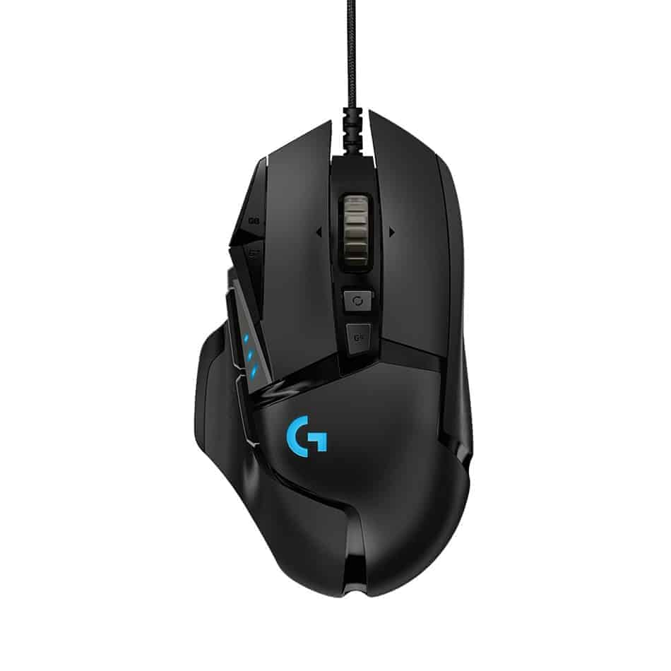 logitech g502 hero rgb top view - best computer mouse