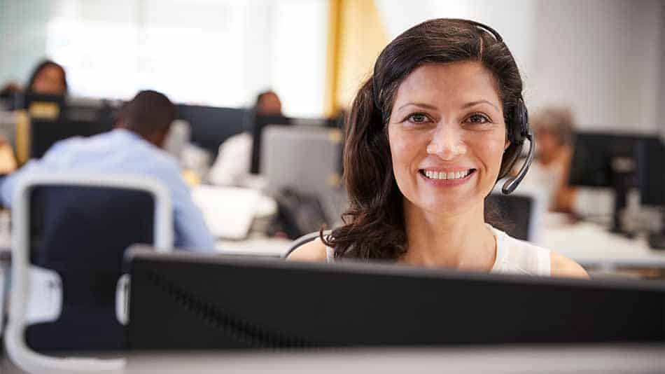 computer helpdesk woman smiling