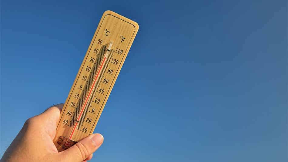 measuring ambient temperature outdoors using a thermometer