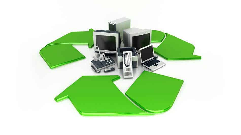 recycling symbol with used computers