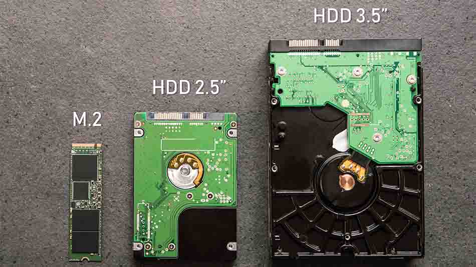 physical drive size comparison between standard mount drives and an m.2