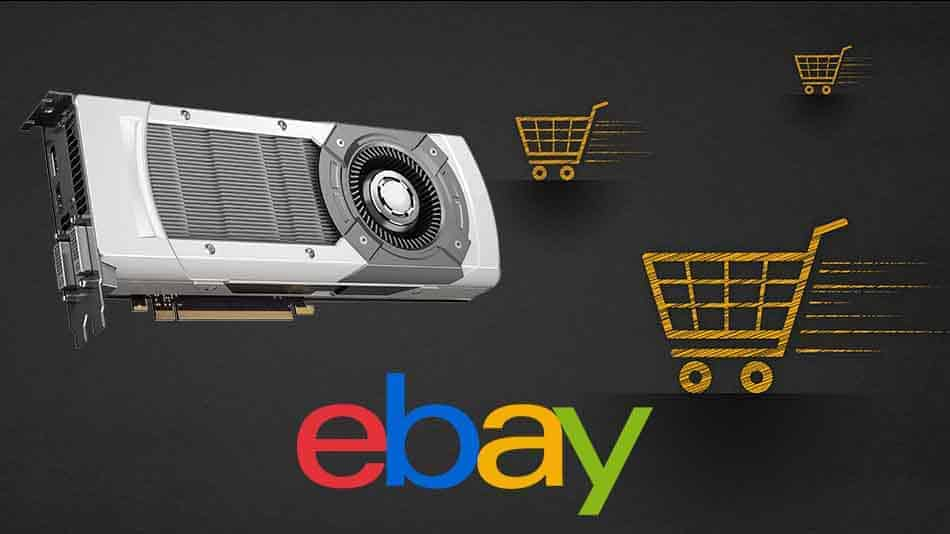 abstract representation of a graphics card being purchased from ebay