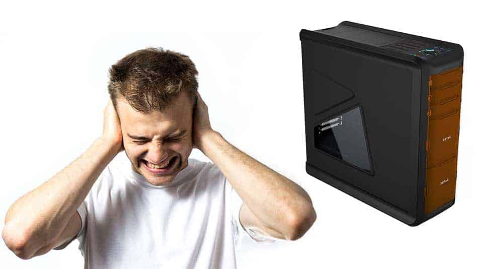 loud gaming pc next to guy covering his ears