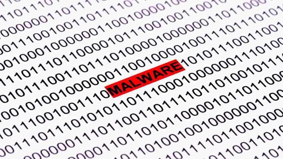 binary code with malware symbol