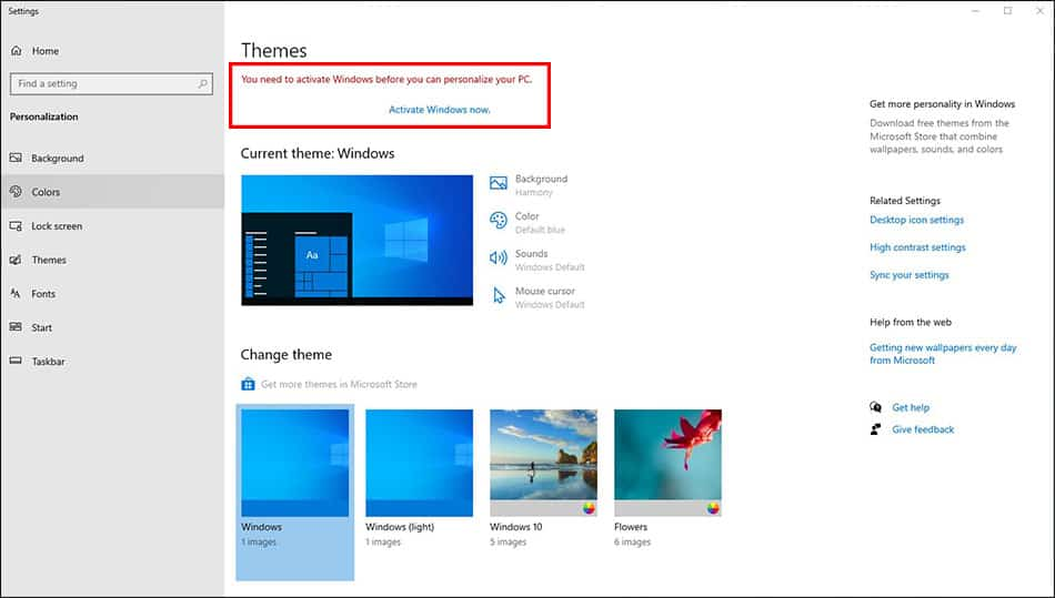 windows 10 not activated prohibits changes to personalization