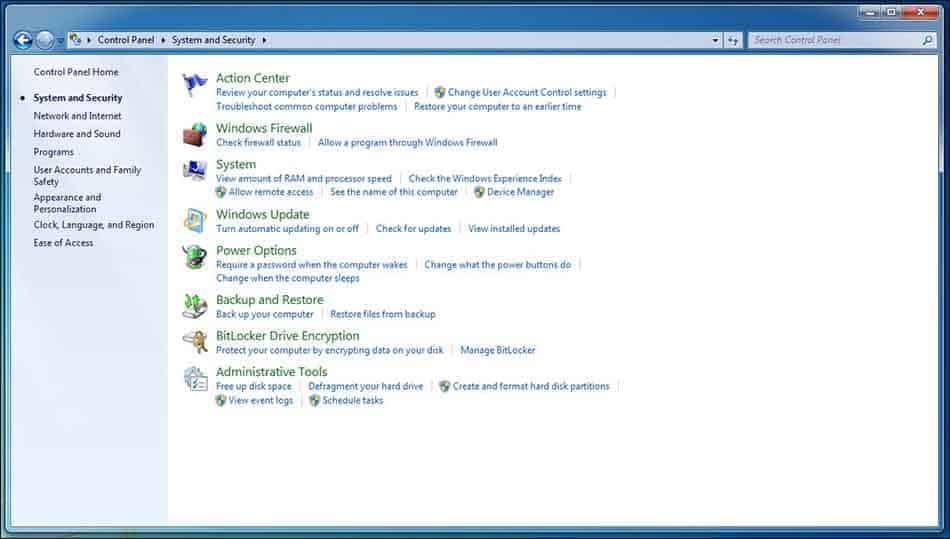 windows 7 security settings