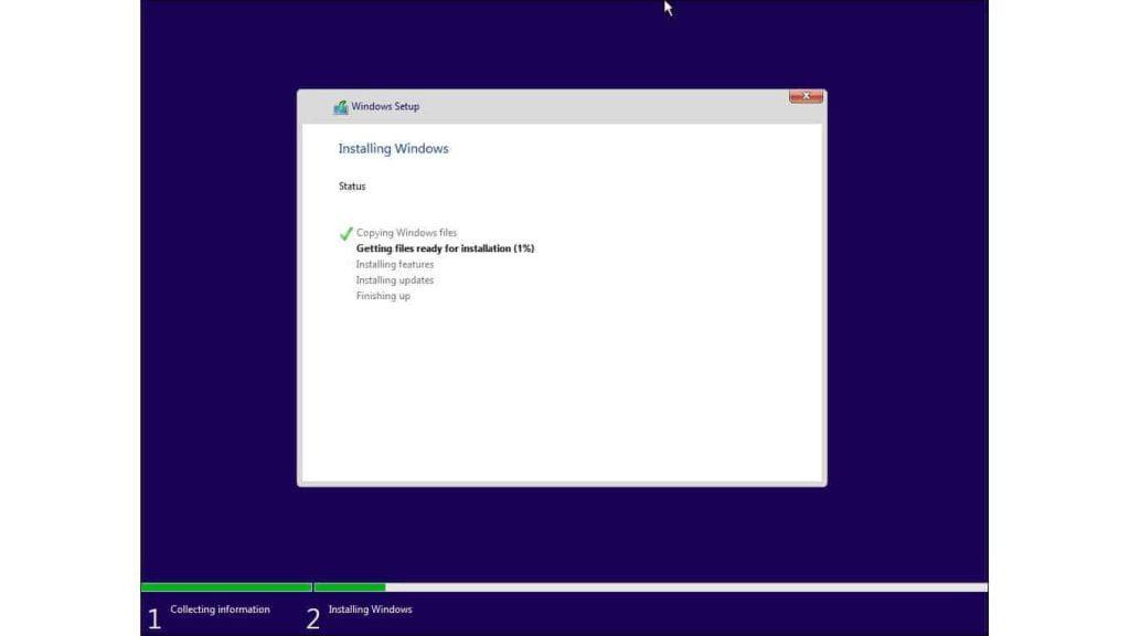 windows 10 installation getting files ready