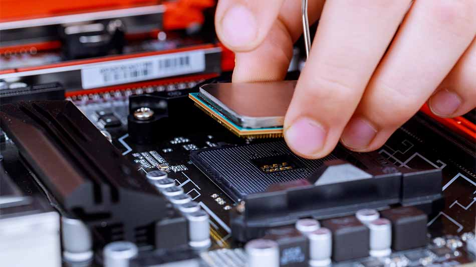 cpu being installed into socket