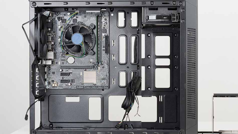 computer case with motherboard mounted inside
